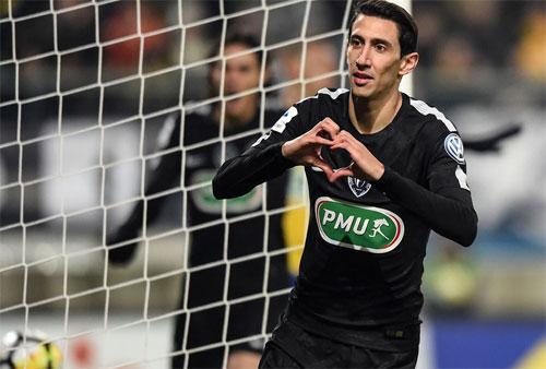 Di Maria chơi nổi bật bên hành lang cánh trái của PSG. Ảnh: Reuters