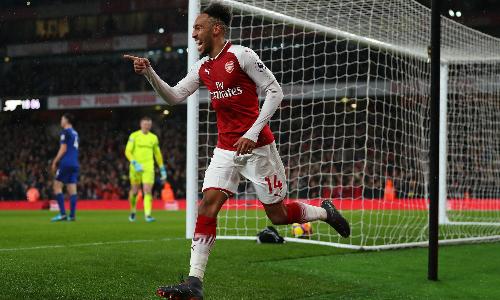 Aubameyang ghi bàn ngay trong trận ra mắt Arsenal. Ảnh: Reuters.