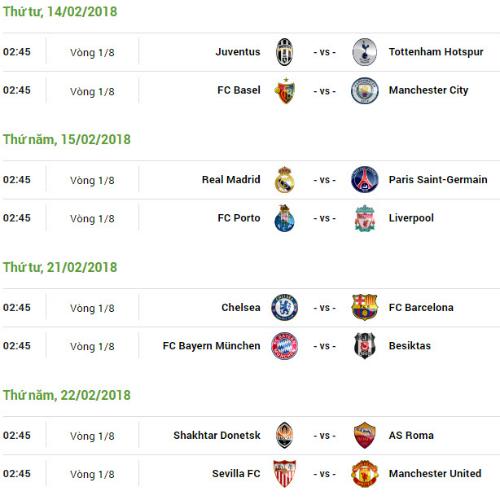 Lịch đấu lượt đi vòng 1/8 Champions League, theo giờ Hà Nội.