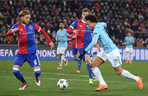 Sane trong trận đấu với Basel. Ảnh:AFP.