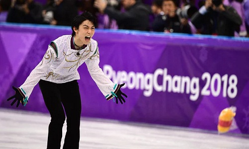 Hanyu lập kỳ tích khi bảo vệ thành công HC vàng Olympic. Ảnh: AFP.