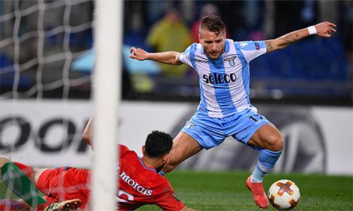 Immobile góp công lớn giúp Lazio đi tiếp khi lập hattrick ở lượt về vòng 1/16. Ảnh: Ansa.