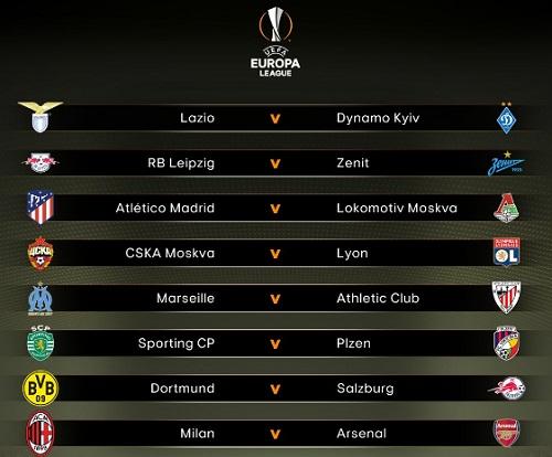 Kết quả bốc thăm vòng 1/8 Europa League. Ảnh: UEFA.