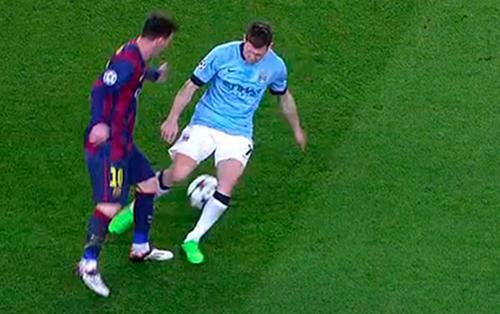 Messi từng xâu kim Milner tại Champions League.