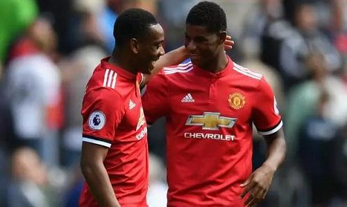 Martial và Rashford ít được ra sân từ khi Sanchez đến Man Utd. Ảnh: Reuters.