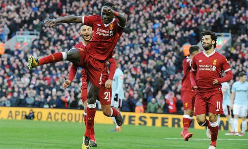 Liverpool có trận thứ ba liên tiếp nã tới bốn bàn vào lưới West Ham. Ở hai lầnđối đầu trước đó, họ thắng với các tỷ số 4-1 và 4-0. Ảnh: PL.