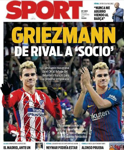 Trang bìa tờ Sport ngày 27/2.