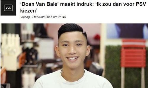 Báo Hà Lan gọi Văn Hậu là 'Đoàn Văn Bale'