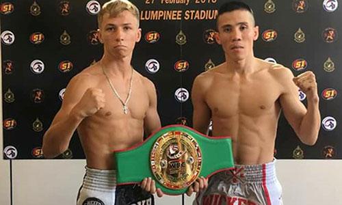 Kế Nhơn (phải) đánh bại đối thủ trẻ người Nga để lần đầu giành đai WBC Muay Thái về cho Việt Nam.