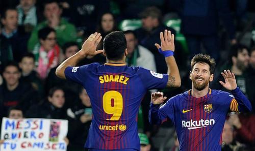Suarez và Messi vẫn có sức hủy diệt dù Neymar đã ra đi. Ảnh: AFP.