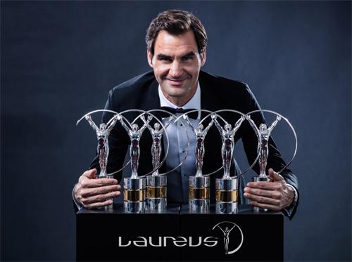 Federer được xem như ngôi sao thể thao hay nhất năm 2017, với chiến thắng ở giải Laureus. Ảnh: Laureus.