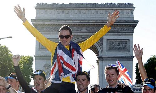 Chiến thắng của Wiggins ở Tour de France đứng trước nguy cơ bị phủ nhận vì nghi án doping. Ảnh: Reuters.