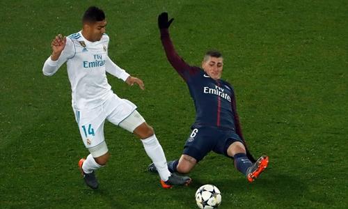 Casemiro chơi rất hay trong trận lượt về gặp PSG. Ảnh: AFP.