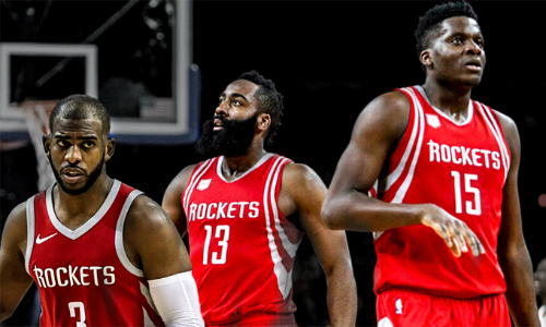 Houston Rockets thắng 33 trong số 34 trận mà bộ ba Harden  Paul  Capela ra sân cùng nhau mùa này. Ảnh: GiveMeSport.