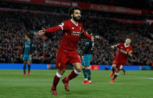 Salah đã ghi bảy bàn vào lưới các đội top 6 tại Ngoại hạng Anh mùa này. Ảnh:Reuters.