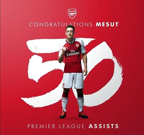 Ozil đạt cột mốc 50 đường kiến tạo ở Ngoại hạng Anh. Ảnh: Arsenal FC.