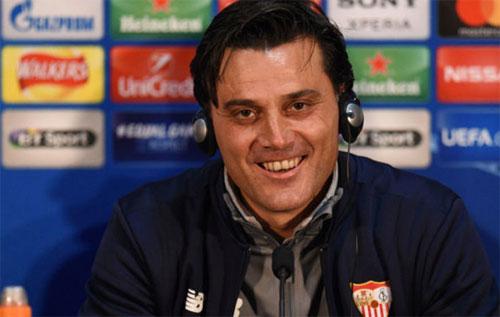 Sevilla của Montella sẽ vào tứ kết nếu giành tỷ số hòa 1-1 tại sân Old Trafford. Ảnh: Marca