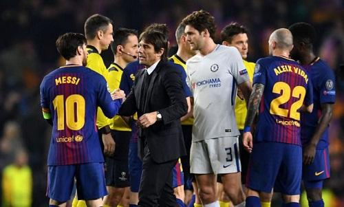 Conte cho rằng Chelsea đã không gặp may trong hai trận đấu với Barca. Ảnh: