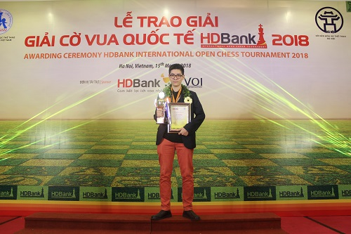 Lê Tuấn Minh là kỳ thủ chủ nhà có thành tích tốt nhất giải. Ảnh: Xuân Bình.