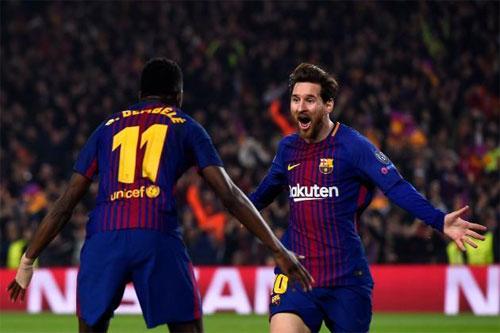 Messi kiến tạo cho Dembele ghi bàn trong trận thắng Chelsea tại Champions League. Ảnh:Reuters