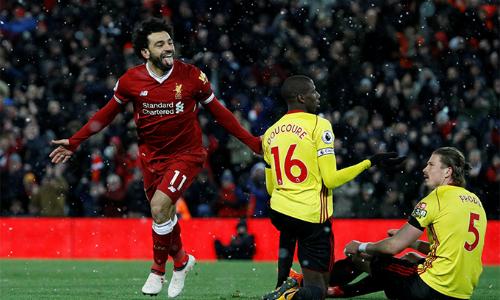 Bốn bàn trước Watford giúp Salah bứt lên với 28 bàn, bỏ xa Harry Kane - ngườicó 24 bàn vàđứng kế sau - trên đường đua tranh ngôi Vua phá lưới Ngoại hạng Anh mùa này. Ảnh: Premier League.