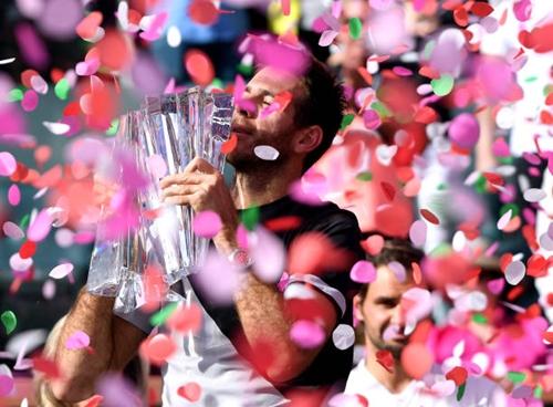 Del Potro đăng quang tại Indian Wells 2018. Ảnh: AFP.
