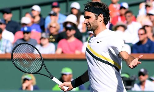Federer không thể có danh hiệu Indian Wells thứ sáu trong sự nghiệp. Ảnh: Reuters.