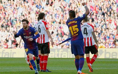 Messi đang sở hữu 25 bàn từ đầu mùa La Liga 2017-2018. Ảnh: Reuters