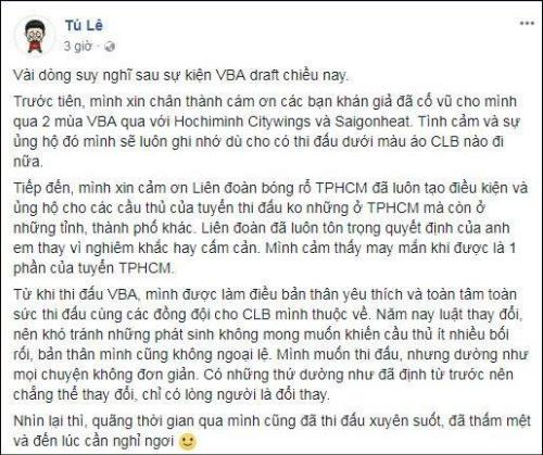 Tâm thư của Lê Ngọc Tú trên Facebook.