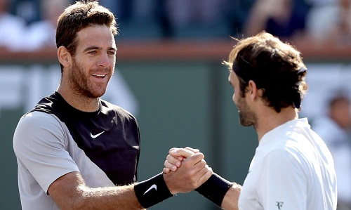 Federer ấn tượng vềsự trở lại của Del Potro. Ảnh: AP.