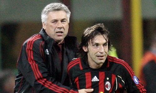 Pirlo là trò cưng của Ancelotti thời dẫn dắt AC Milan. Ảnh: AFP.