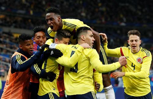 Colombia giành chiến thắng ấn tượng ngay trên đất Pháp. Ảnh:Reuters.