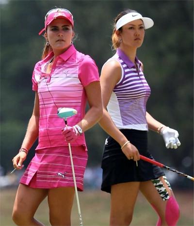 Hai mỹ nhân làng golf Michelle Wie và Lexi Thompson sẽ chơi cùng một nhóm ở ngày mở màn ANA Inspiration. Ảnh: LPGA.