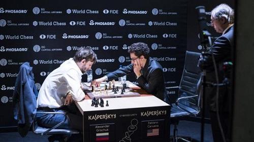Caruana thắng Grischuk ở ván cuối. Ảnh: Chess.com.