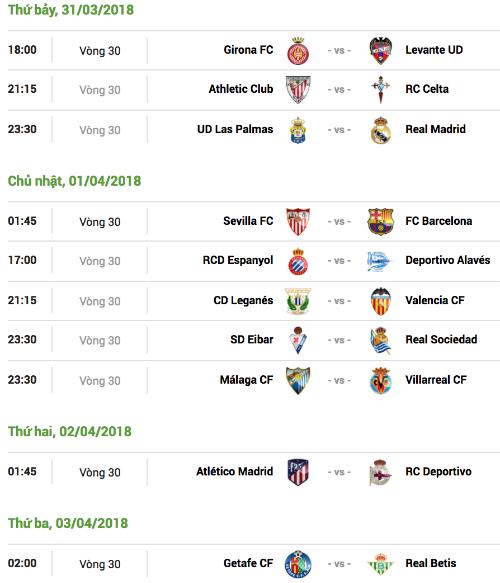 Lịch đấu vòng 30 La Liga, giờ thi đấu tính theo giờ Hà Nội.