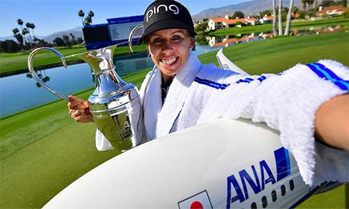 Pernilla Lindberg hoàn thành giấc mơ thời thơ ấu -đăng quang tại một giải major. Ảnh: LPGA.