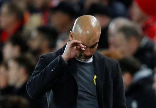 Guardiola nhận thất bại nặng nề nhất ở mùa giải năm nay. Ảnh:Reuters.