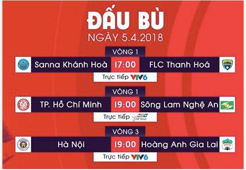 Lịch đấu bù vòng 1 và 3 NutiCafe V-League 2018.