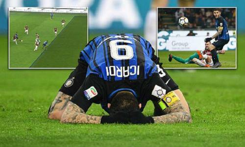 Icardi vô duyên trước khung thành Milan. Ảnh: Sportsmail.