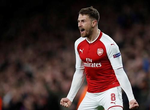 Ramsey lập cú đúp vào lưới CSKA tối 5/4. Ảnh: Reuters.