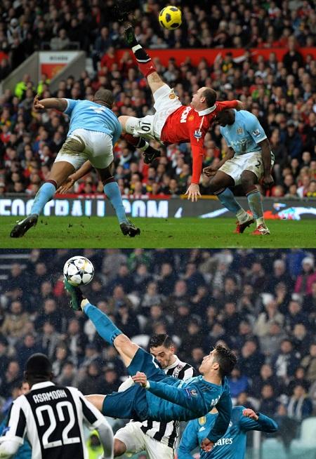 Hai pha ngả bàn đèn kinh điển của Rooney và Ronaldo. Ảnh: AFP.