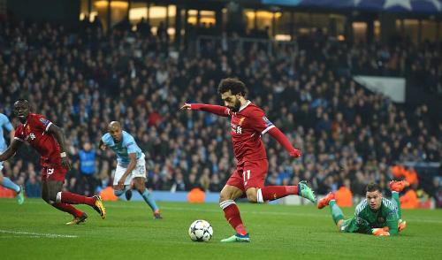 Salah ghi bàn thắng gỡ hòa cho Liverpool. Ảnh:DM.