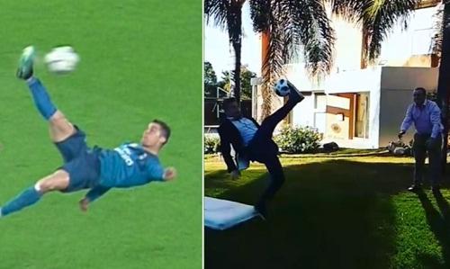 Pha móc bóng của Ronaldo được Sanchez tái hiện. Ảnh: Instagram/nolosanchez12.