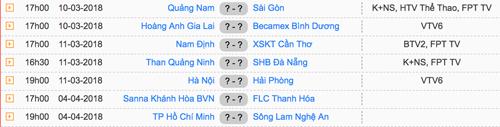 Lịch thi đấu vòng một V-League 2018.