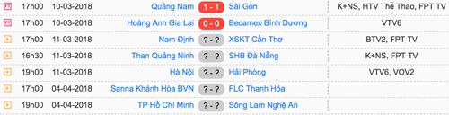 Lịch thi đấu vòng 1 V-League 2018.