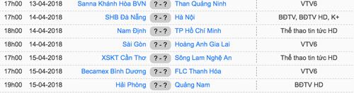 Lịch thi đấu vòng 5 V-League 2018.