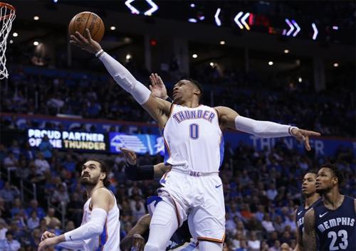 Russell Westbrook (số 0) đi vào lịch sử NBA trong trận Thunder thắng Grizzlies 137-123.