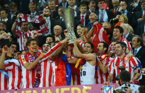 Atletico vô địch Europa League năm 2012. Ảnh:AFP.