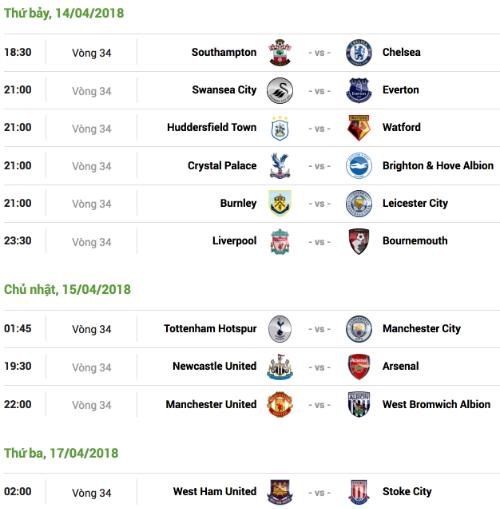 Lịch thi đấu vòng 34 Ngoại hạng Anh, theo giờ Hà Nội.