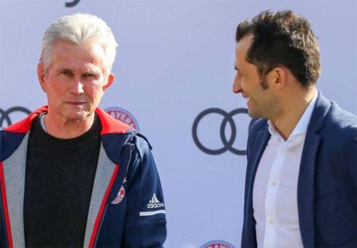 HLV Jupp Heynckes và Giám đốc thể thao Hasan Salihamidzic của Bayern. Ảnh: Sport1